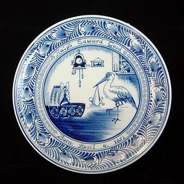1950s Delft Birth Announcement Plate With Baby and Stork
