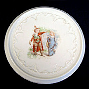 Children Playing Robin Hood Antique Porcelain Tea Trivet