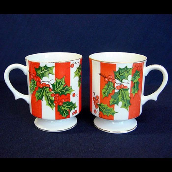 Pair Lefton Christmas Holly Footed Coffee Mugs