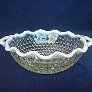 Hocking Moonstone Handled Crimped Rim Bowl