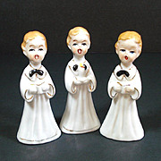 Skinny Choir Boy Porcelain Christmas Figurines Trio