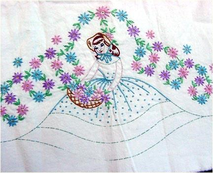 Pillowcase Flower Design: Southern Belle Embroidered Pillowcase to Finish with Crochet    ,