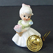 Napco Miniature Porcelain Bisque Angel With Bird Figurine