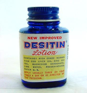 2 Desitin Lotion Vintage Sample Medicine Bottles With Contents