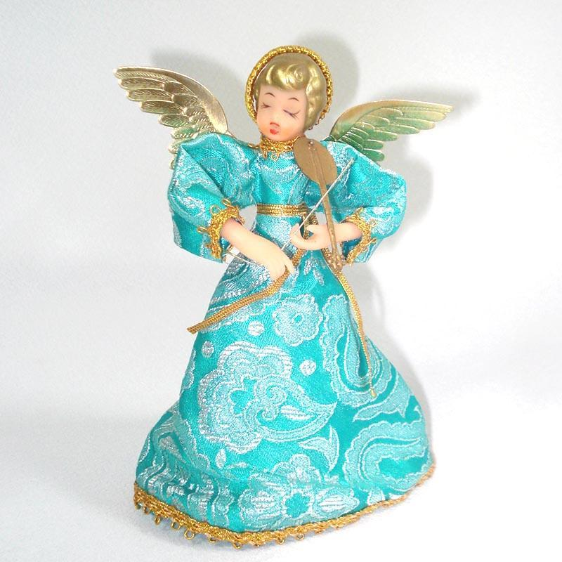 Blue Brocade Christmas Angel Doll Tree Topper