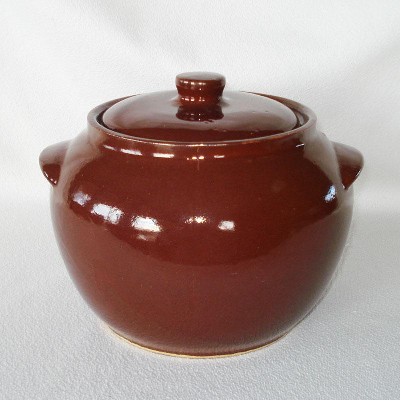 Watt Stoneware Brown Bean Pot Cookie Jar