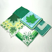 4 Vintage Ladies Hankies Shades of Green