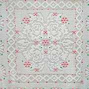 Full Size Chenille Bedspread, Pink and Green Flowers on White