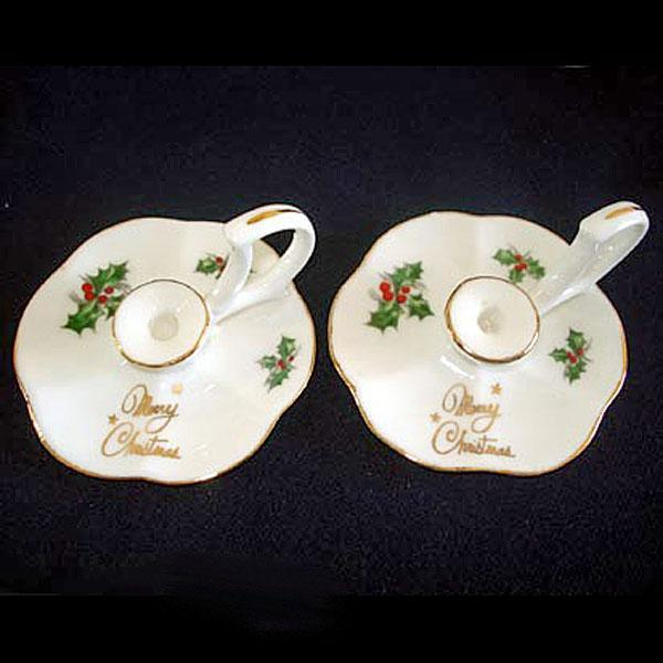 Pair Miniature Bone China Christmas Holly Candlesticks