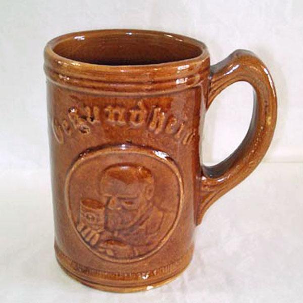 Gesundheit Yellow Ware Beer Mug or Stein, 1930s Advertising Premium
