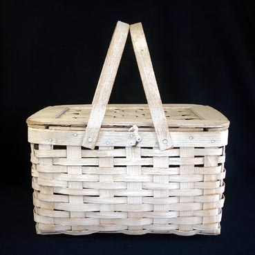 Whitewashed Woven Wood Picnic Basket
