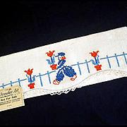 1940 Salesman Sample Embroidered Dutch Boy Fingertip Guest Towel