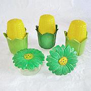 5 Plastic Green Yellow Flower and Individual Corn Salt Pepper Shakers