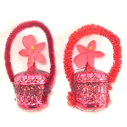 Pair Wired Red Glass and Chenille Flower Basket Christmas Ornaments