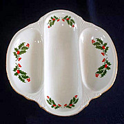 Christmas Holly Porcelain 3 Section Divided Serving Dish