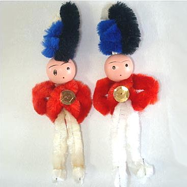 2 Chenille Nutcracker Soldier Christmas Figure Ornaments