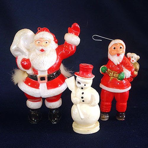 Wax Snowman and Plastic Santa Claus Christmas Ornaments