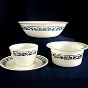 Corelle Pyrex Old Town Blue Vegetable Bowl, Margarine Tub and Sugar Bowl