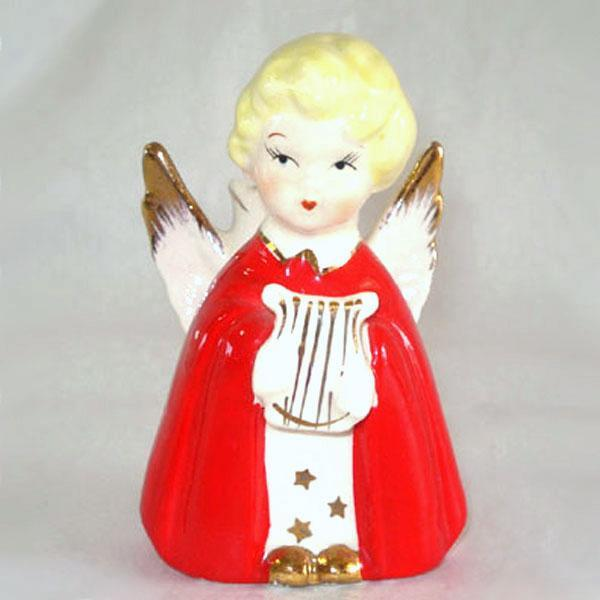 Red Robed Angel With Harp Christmas Candle Holder Figurine