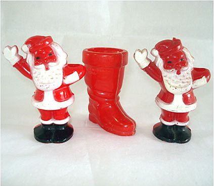3 Hard Plastic Candy Containers, Santa Claus and Boot