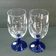 2 Princess House Heritage Cobalt Stem Ice Tea Goblets