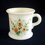 Milk Glass Shaving Mug Hand Painted Flowers