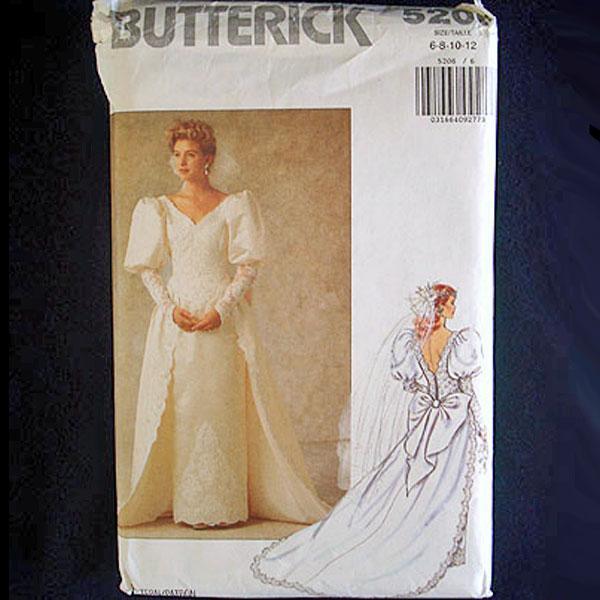 Butterick Uncut Bridal Wedding Dress Sewing Pattern Size 6-12