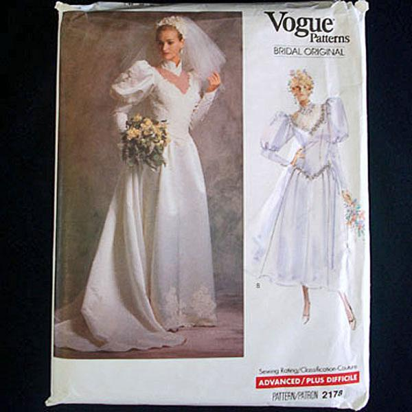 Vogue 1988 Size 8 Bridal Wedding Dress Sewing Pattern Uncut