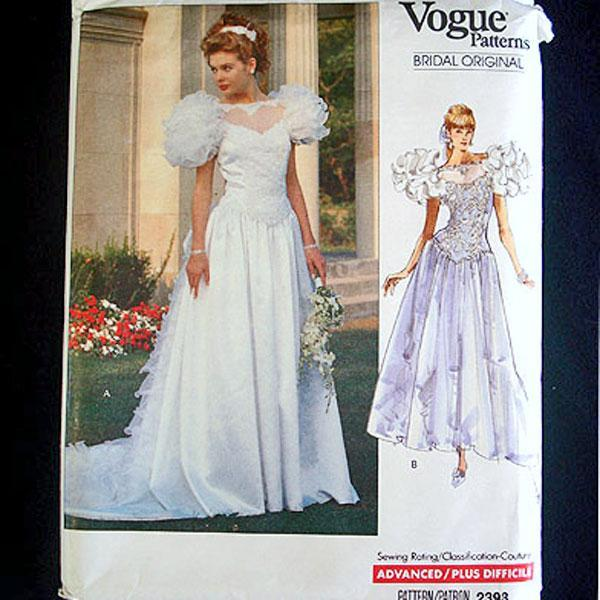 Vogue 1989 Wedding Bridal Dress Sewing Pattern Uncut Size