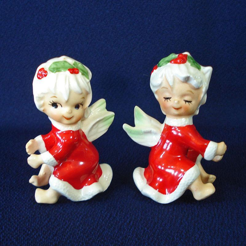 Lefton Christmas Holly Angels Candle Climbers Huggers