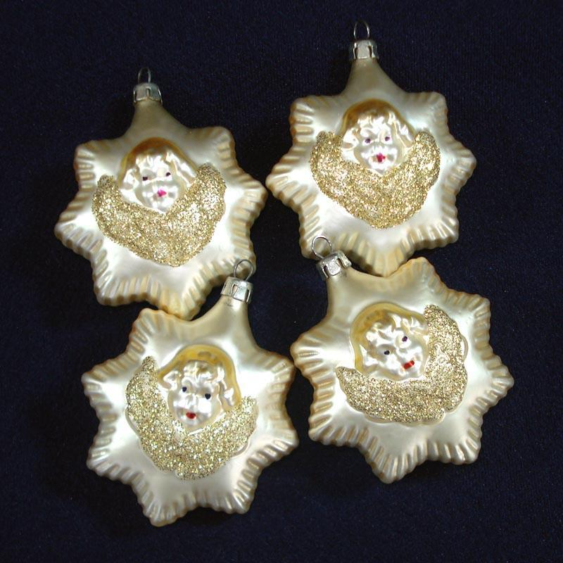 Angel Face In Star Glass Christmas Ornaments Set of 4
