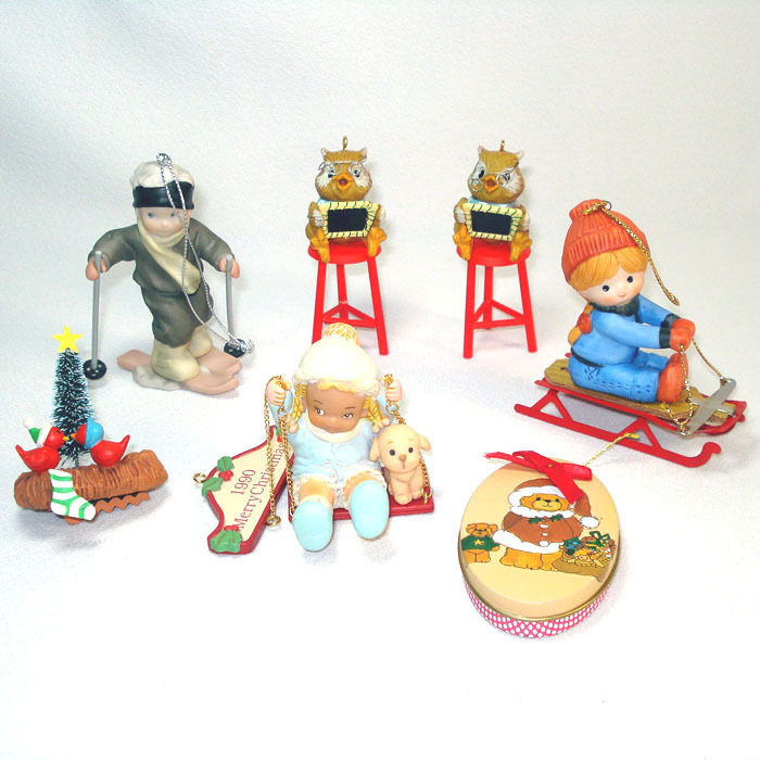 6 Enesco Christmas Ornaments From The 1980s From