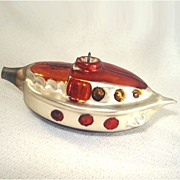 1950s Glass Passenger Cruise Ship Christmas Ornament