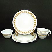 5 Corelle Butterfly Gold Lunch Plates Plus Bonus Cups