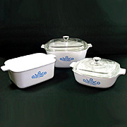 Corning Ware Blue Cornflower Set 3 Casserole Baking Dishes