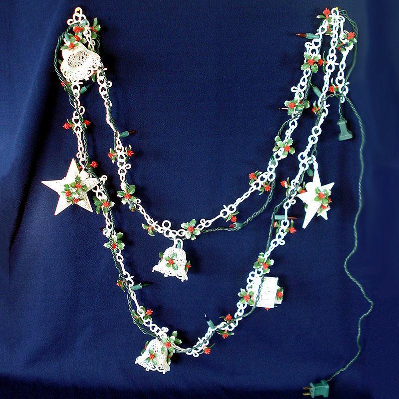 1960s Soft Plastic Filigree Ornaments Holly Christmas Garland