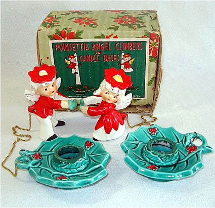 Commodore Christmas Poinsettia Angel Candle Climbers Holders Boxed Set