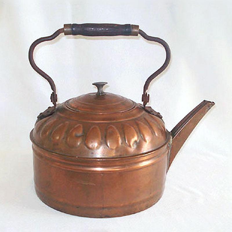 1800s Six Quart Antique Copper Water Kettle