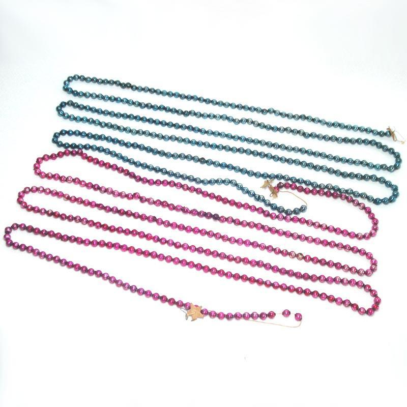 2 Mercury Glass Christmas Bead Garlands Blue, Magenta Pink