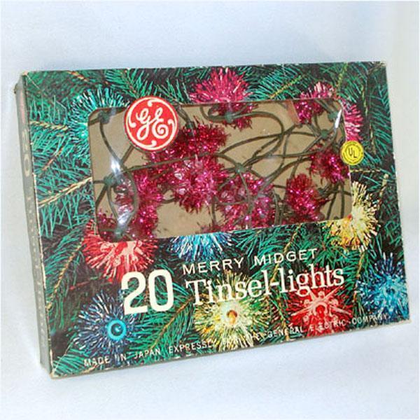 Box PINK GE Merry Midget Tinsel Flower Christmas Lights