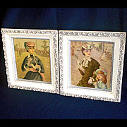 2 Paris Pretty Girl Street Scene Framed Art Prints