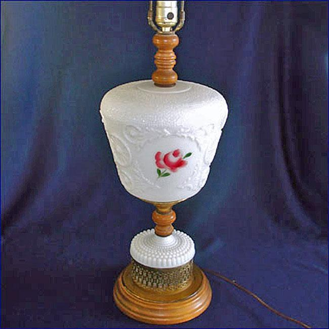 1950s Milk Glass Roses and Wood Large Table Lamp