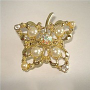 Faux Pearl and Rhinestone Butterfly Leaf Brooch Pin