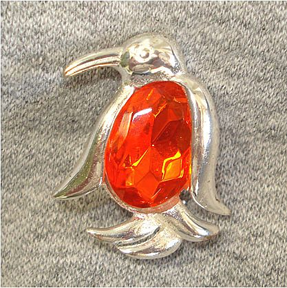 Jelly Belly Orange Faceted Penguin Pin Brooch