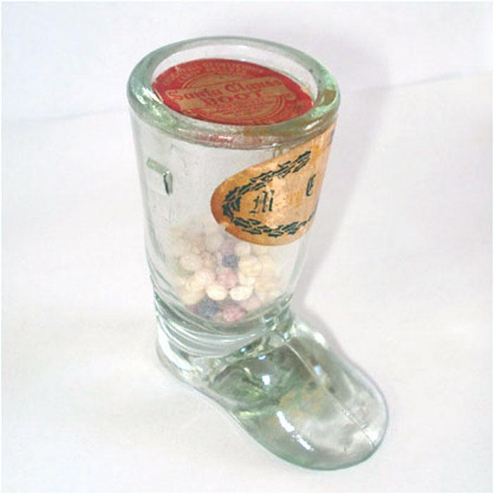 Glass Santa Boot Christmas Candy Container With Labels