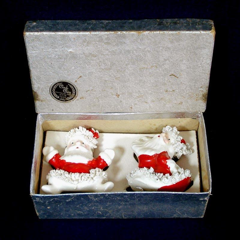 Napco Spaghetti Santa Christmas Salt and Pepper Shakers in Box