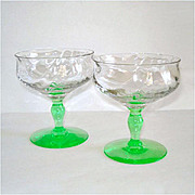 Tiffin Green Stem Festoon Optic Champagne Sherbet Goblet Pair