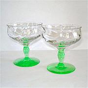 Tiffin Green Stem Festoon Optic Champagne Sherbet Goblet Pair
