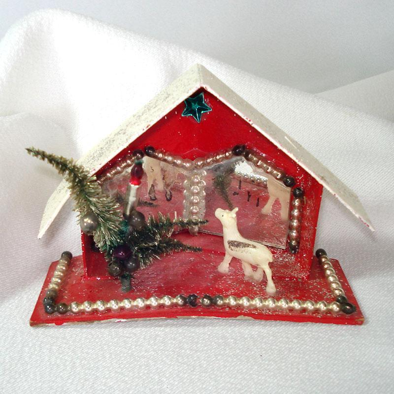 Christmas Mica Putz Diorama House With Beads, Mirrors, Reindeer