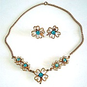 Blue Rhinestone Clover Flower Necklace Earrings Demi Parure